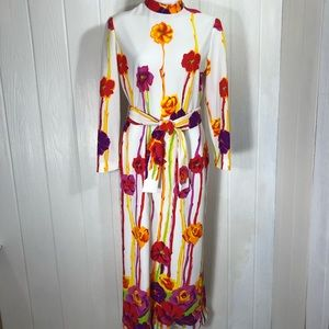 Vintage Leslie Fay Maxi Dress Festival 8 6 Flowers
